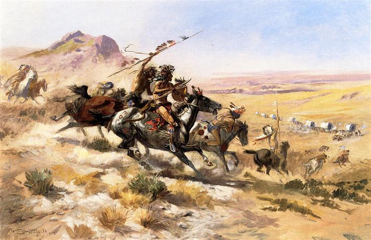 Attack on a Wagon Train, 1902 - Charles M. Russell
