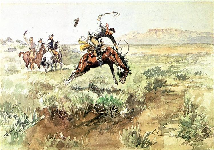 Bronco Busting, 1895 - Charles M. Russell