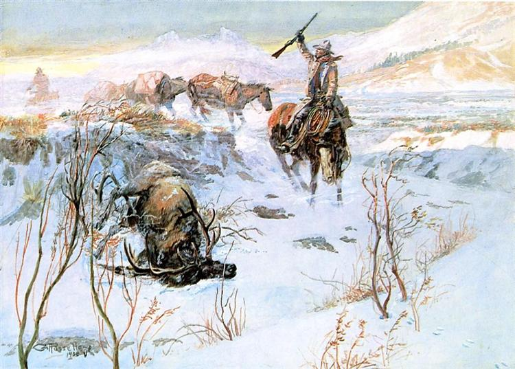Christmas Dinner for the Men on the Trail, 1905 - Charles Marion Russell