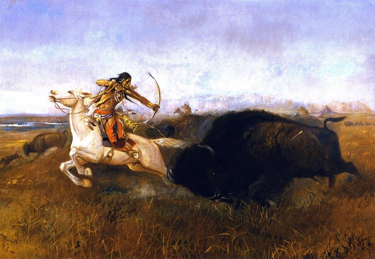 Indians Hunting Buffalo, 1894 - Charles M. Russell