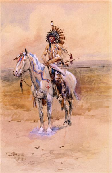 Mandan Warrior, 1906 - Charles M. Russell