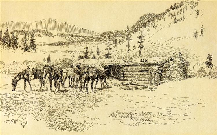 Where I Learned the Diamond Hitch - The Old Hoover Ranch on the South Fork of the Judith, 1917 - Charles M. Russell