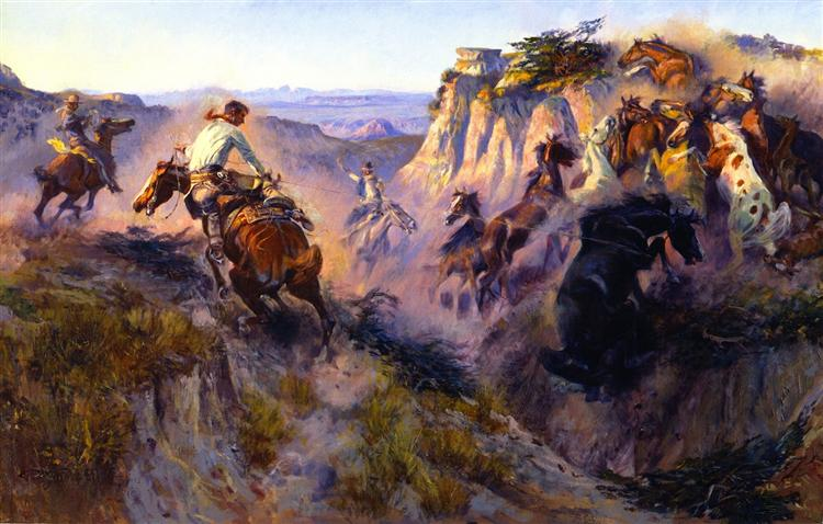 Wild Horse Hunters [No. 2], 1913 - Charles M. Russell