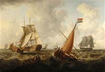 Dutch and British Men O' War off the Coast, Dutch Boat in the Foreground - Charles Martin Powell