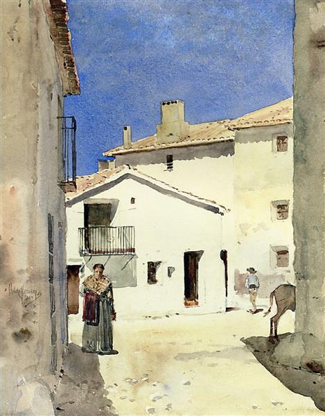 A Street in Denia, Spain, 1883 - Childe Hassam