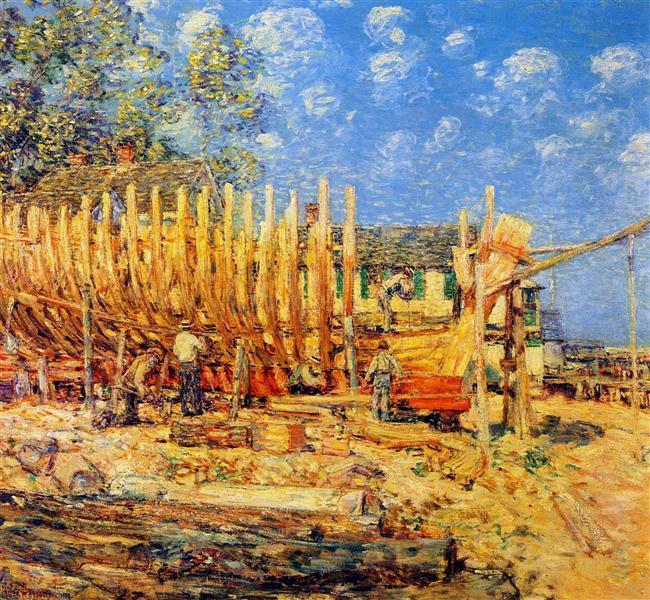 Building a Schooner, Provincetown, 1900 - Childe Hassam