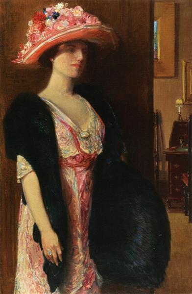 Fire Opals (aka Lady in Furs - Portrait of Mrs. Searle), 1912 - Childe Hassam