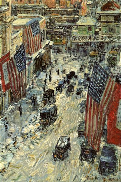 Flags on 57th Street, Winter, 1918 - Childe Hassam