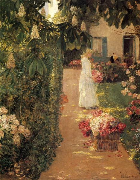 Gathering Flowers in a French Garden, 1888 - Childe Hassam