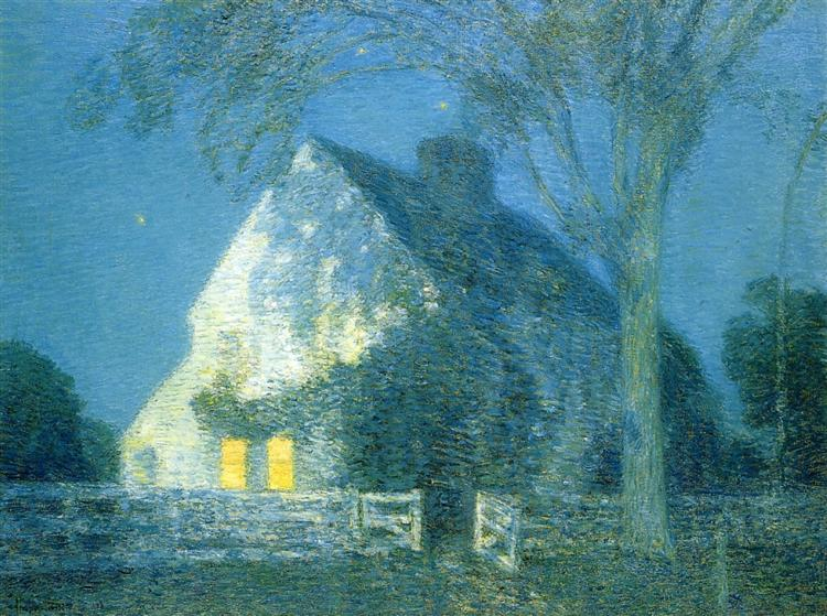 Moonlight, the Old House, 1906 - Childe Hassam