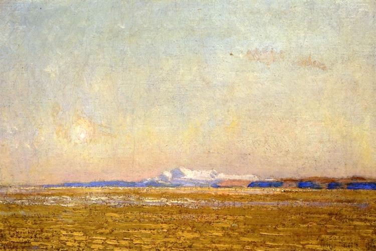Moonrise at Sunset, Harney Desert, 1908 - Childe Hassam