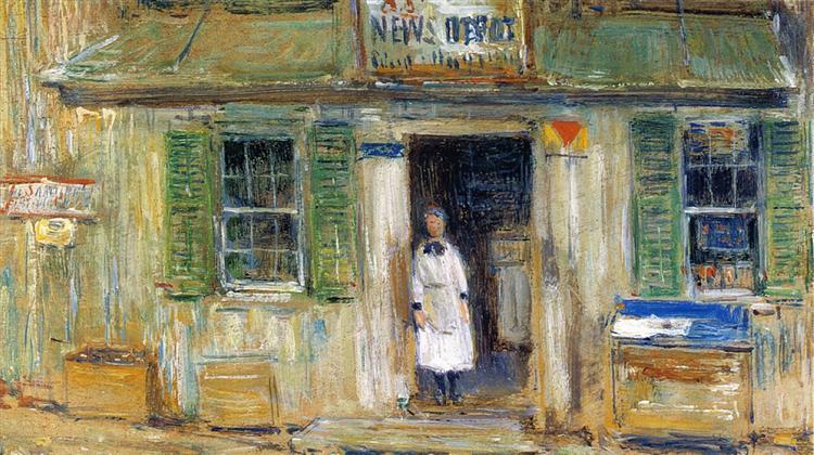 News Depot, Cos Cob, 1912 - Childe Hassam