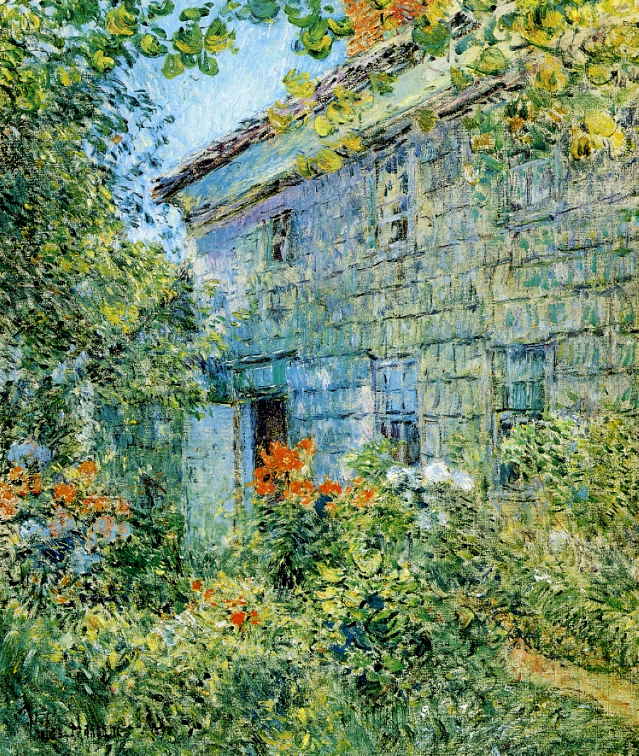 Old house and garden east hampton 1898 childe hassam for Classic house landscape