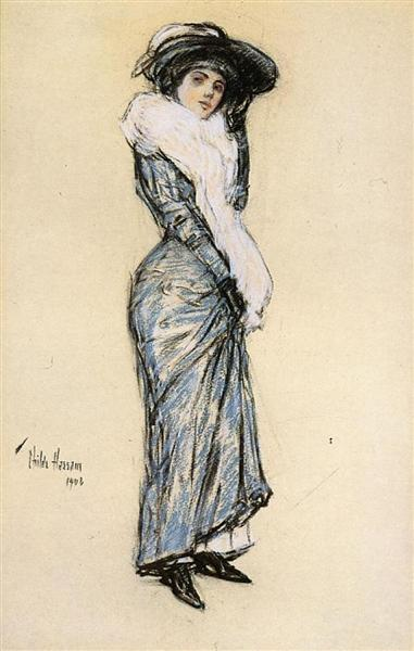 Portrait of a Lady in Blue Dress, 1906 - Childe Hassam