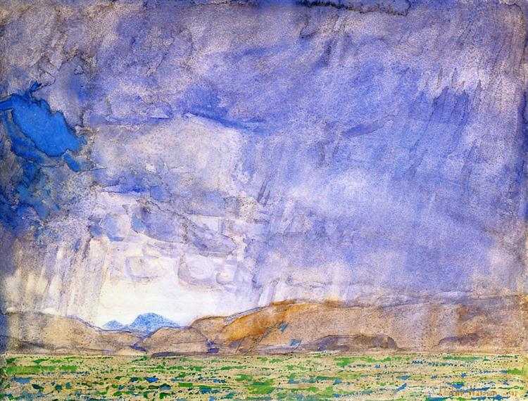 Thunderstorm on the Oregon Trail, 1908 - Чайльд Гассам