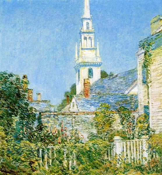 White Church at Newport (aka Church in a New England Village), 1901 - Childe Hassam