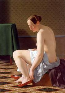 Nude Woman Putting On Her Slippers - Christoffer Wilhelm Eckersberg