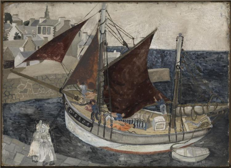 Boat in Harbour, Brittany - Christopher Wood