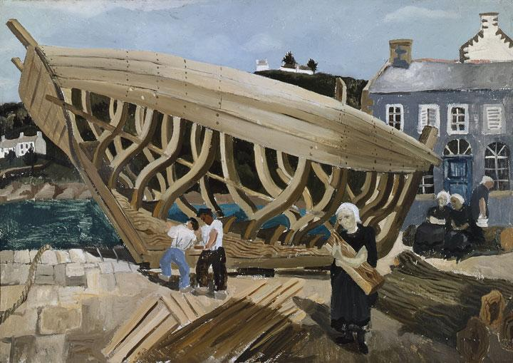 Building the Boat, Tréboul - Christopher Wood