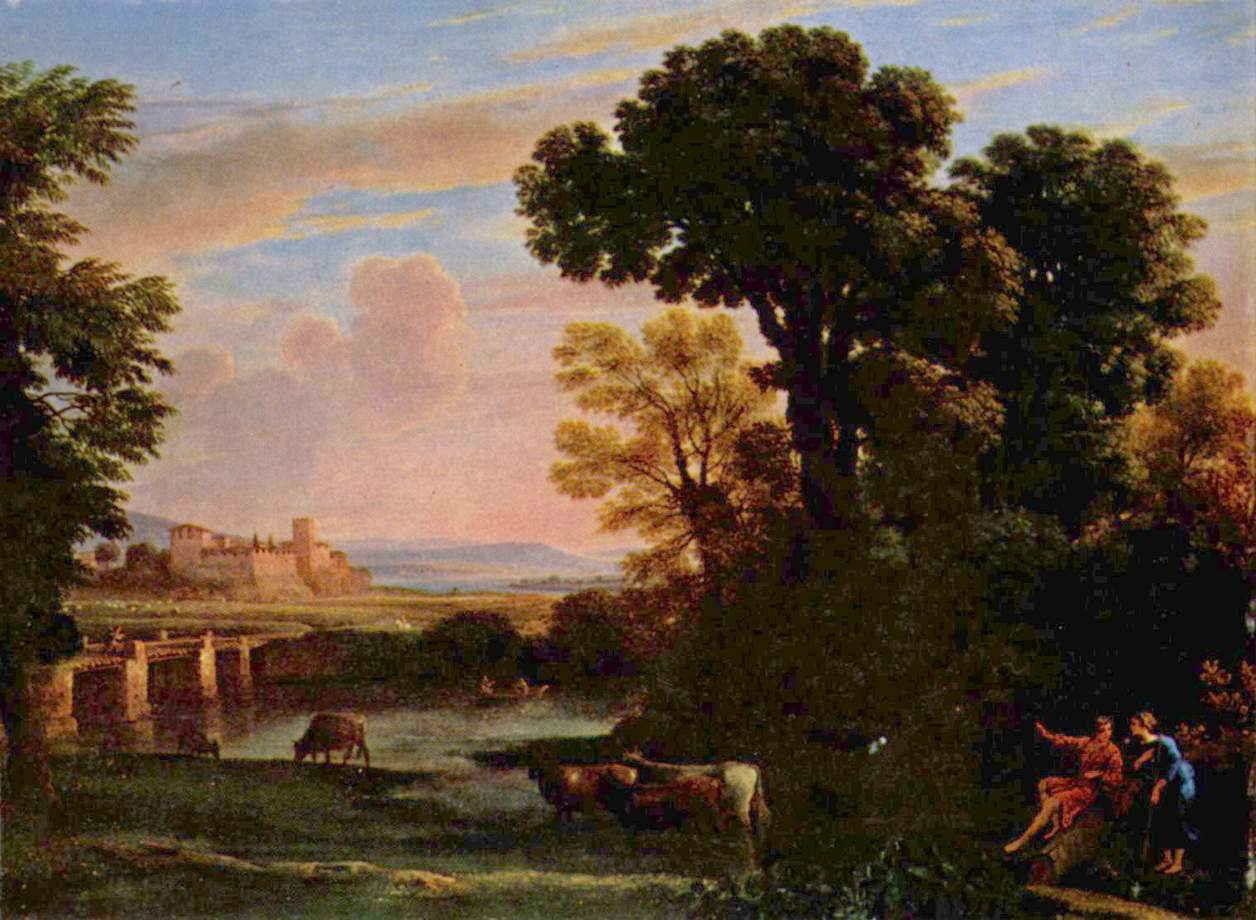 Pastoral Landscape 1648 on Italian Rococo Style Painting