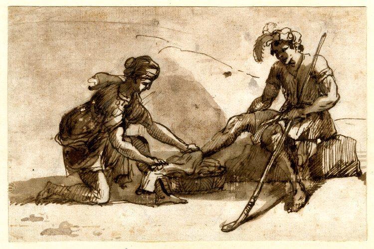Study to Pastoral landscape with figures, 1646 - Claude Lorrain