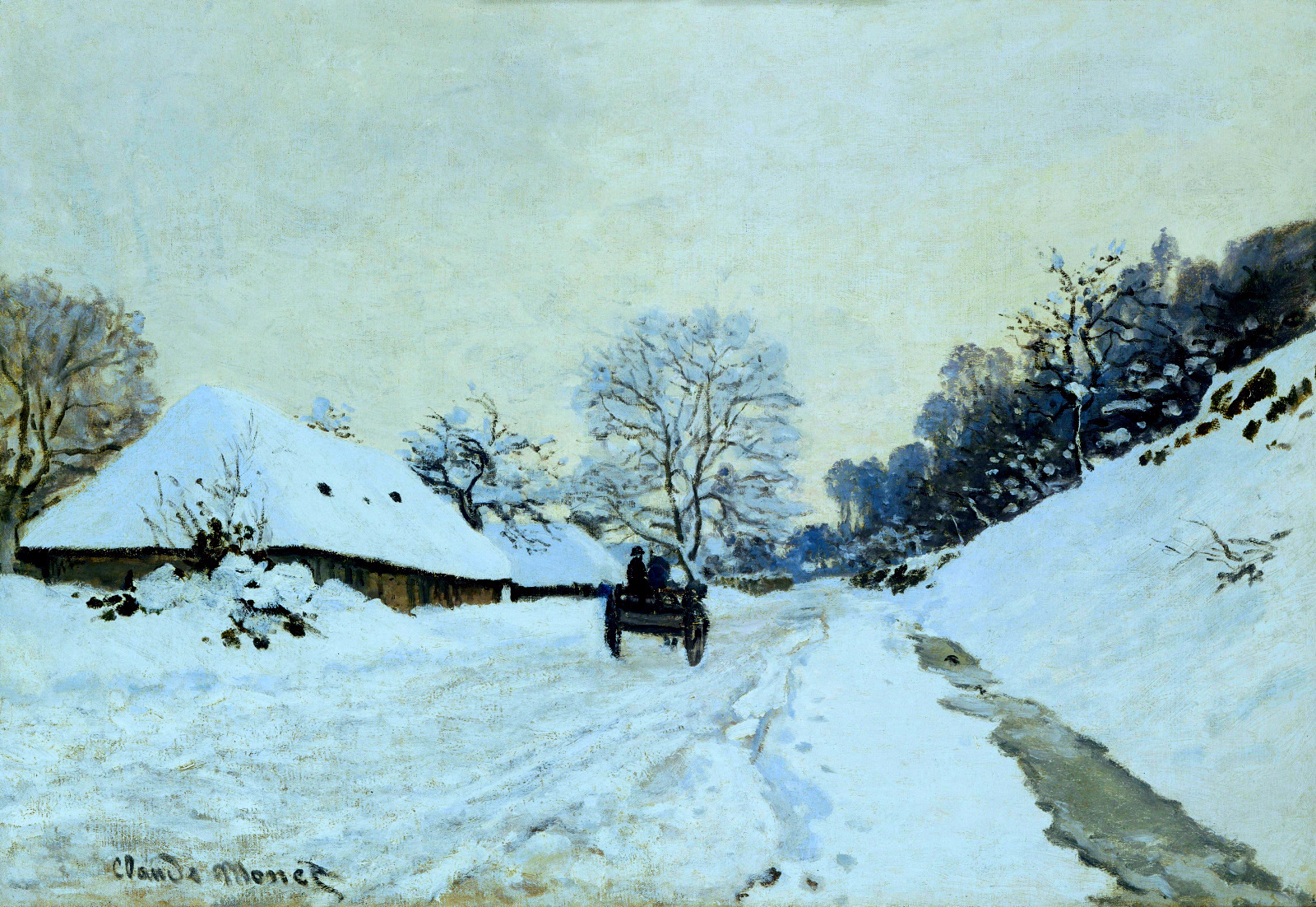 Cart on the Snow Covered Road with Saint-Simeon Farm, 1865