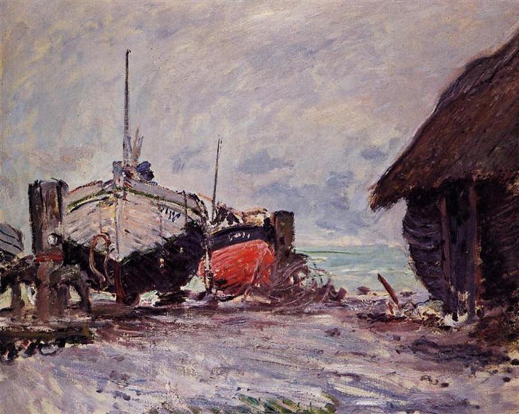 Fishing Boats at Etretat, 1873 - Claude Monet