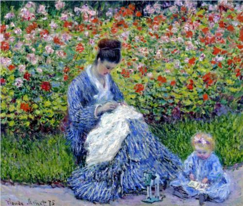 Мадам Моне с ребенком в саду художника в Аржантее - Клод Моне