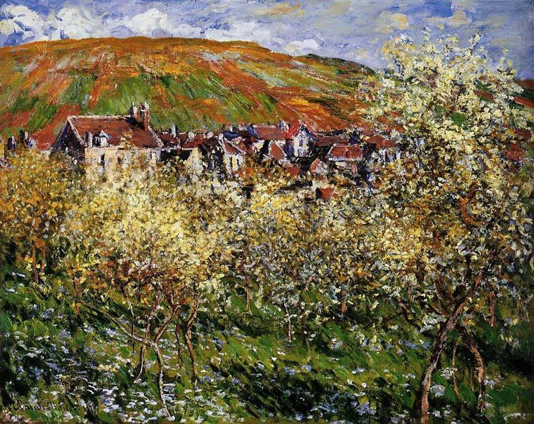 Plum Trees in Blossom at Vetheuil, 1879 - Claude Monet