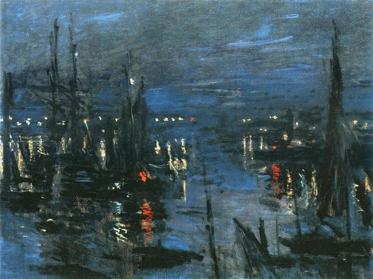 The Port of Le Havre, Night Effect, 1873 - Claude Monet