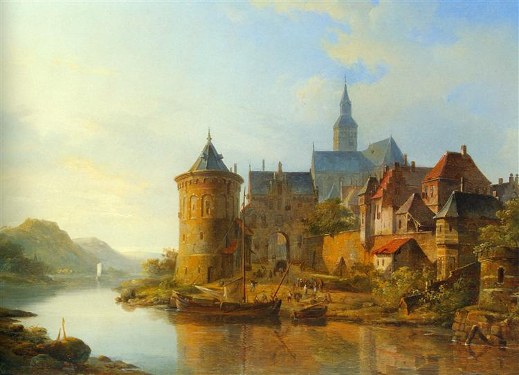 A View of a Town along the Rhine, 1841 - Cornelis Springer