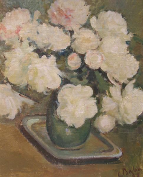 White Peonies in Green Vase, 1937 - Corneliu Baba