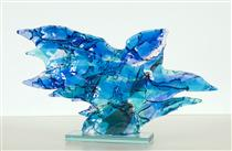 Blue Bird - glass fusing art - abstract glass sculpture - Daan Lemaire
