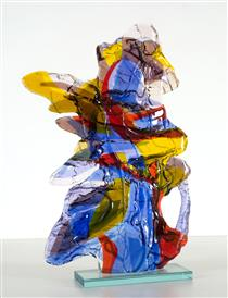 no title colorful abstract glass art - sculpture in fusion technique - Daan Lemaire