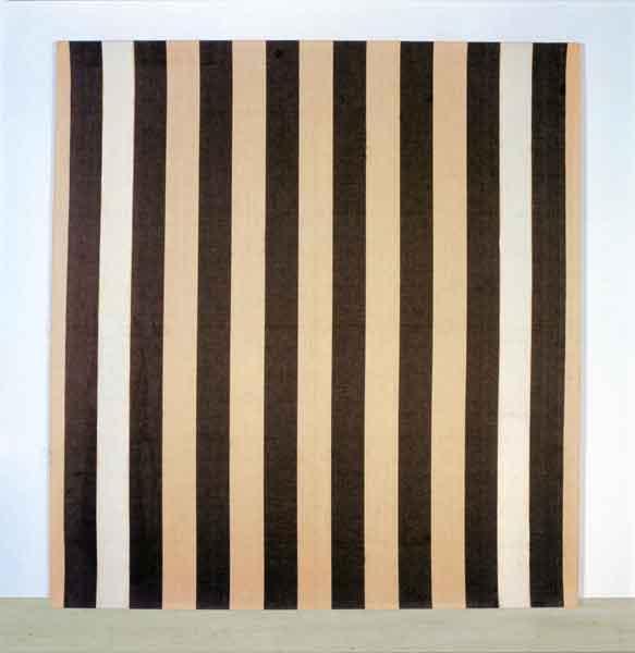peinture acrylique blanche sur tissu ray blanc et marron 1972 daniel buren. Black Bedroom Furniture Sets. Home Design Ideas