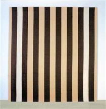 Peinture acrylique blanche sur tissu rayé blanc et marron - Даниель Бюрен