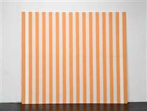 Peinture acrylique blanche sur tissu rayé blanc et orange - Даниель Бюрен