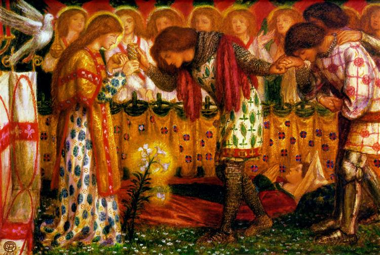 How Sir Galahad, Sir Bors and Sir Percival Were Fed with the Sanct Grael; but Sir Percival's Sister Died by the Way, 1864 - Dante Gabriel Rossetti