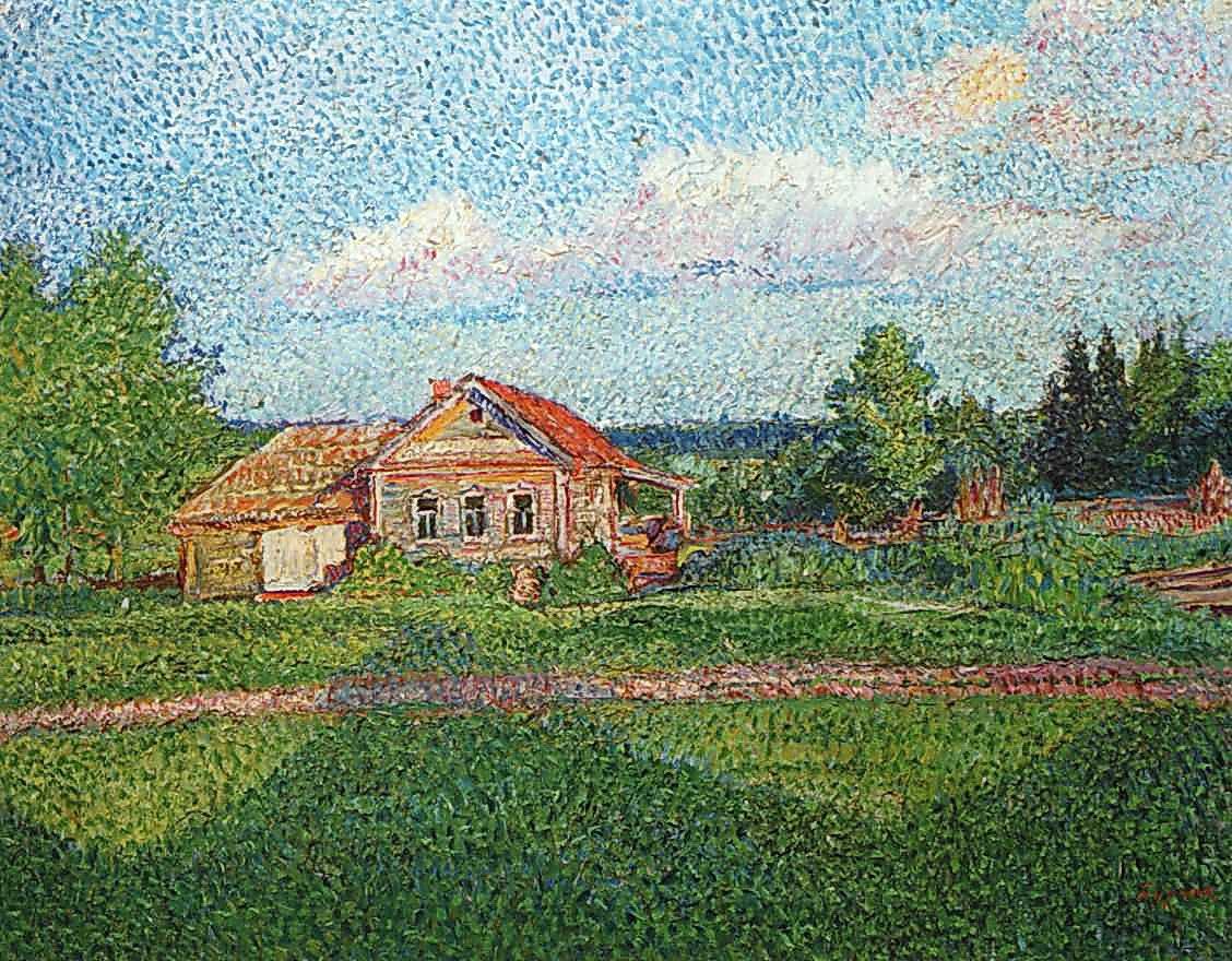 Landscape with a house - David Burliuk
