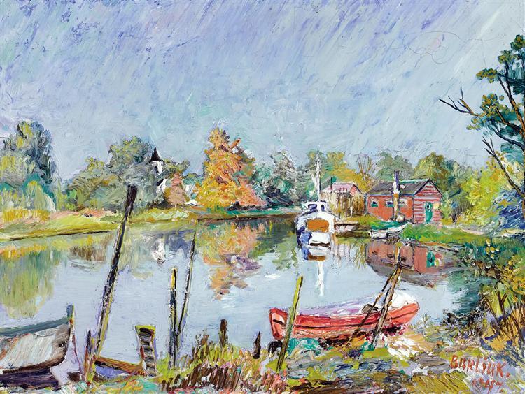 Вид на воду (Деревенский пейзаж с озером), 1947 - Давид Бурлюк