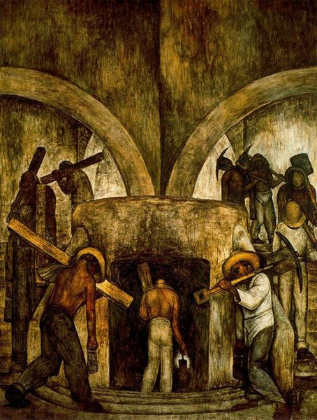 Entry into the Mine, 1923 - Diego Rivera