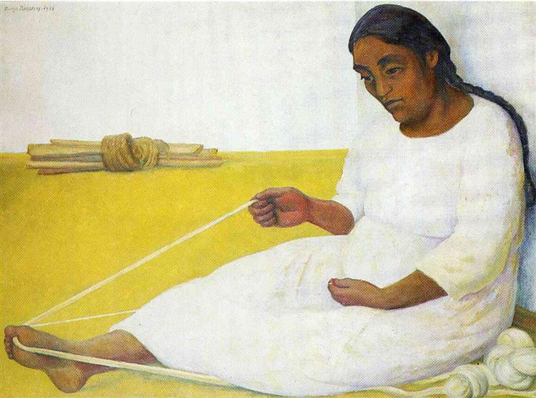 Indian Spinning - Diego Rivera