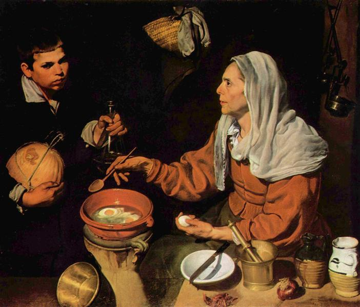 An Old Woman Cooking Eggs - Velazquez Diego