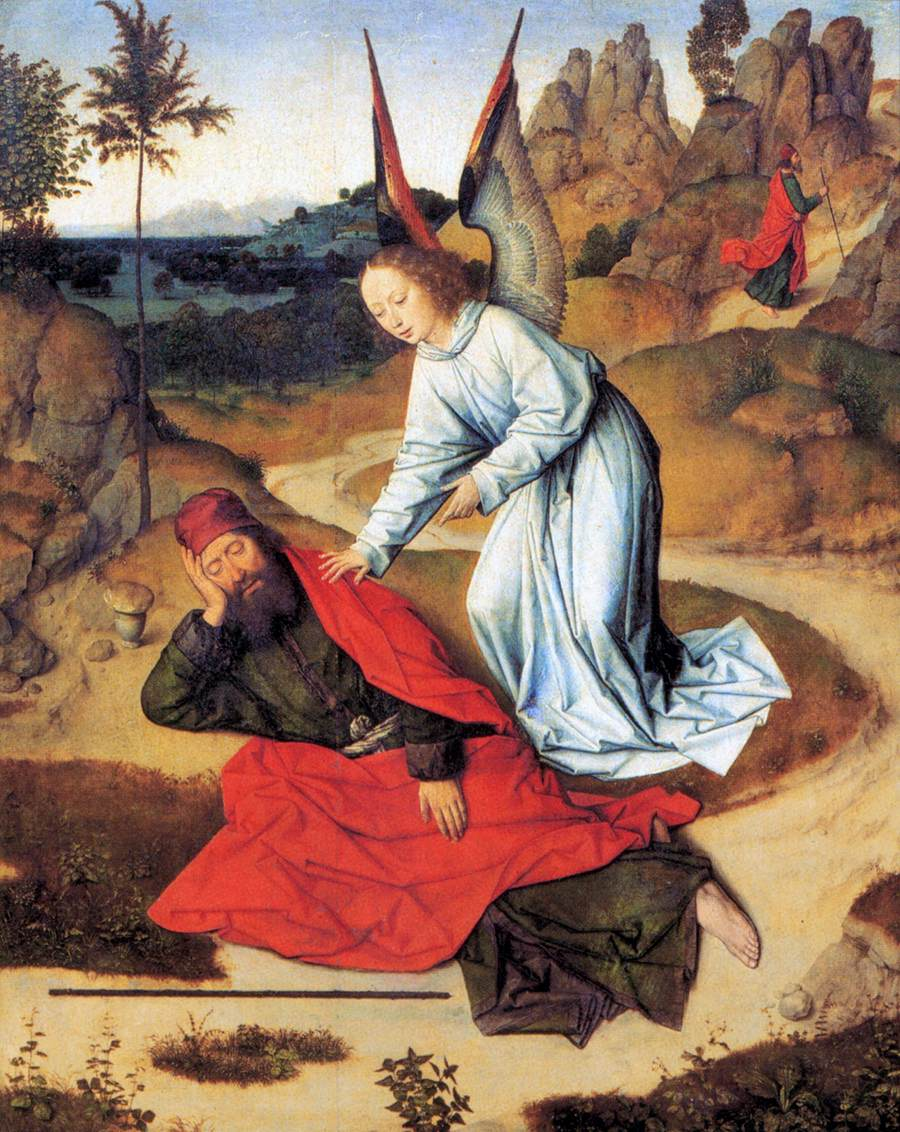 Prophet Elijah in the Desert - from the Winged altar in St. Peter in Leuven, 1465