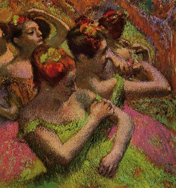 Ballerinas Adjusting Their Dresses, c.1899 - Edgar Degas