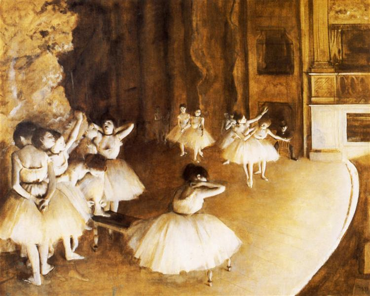 The Ballet Rehearsal on Stage - Degas Edgar