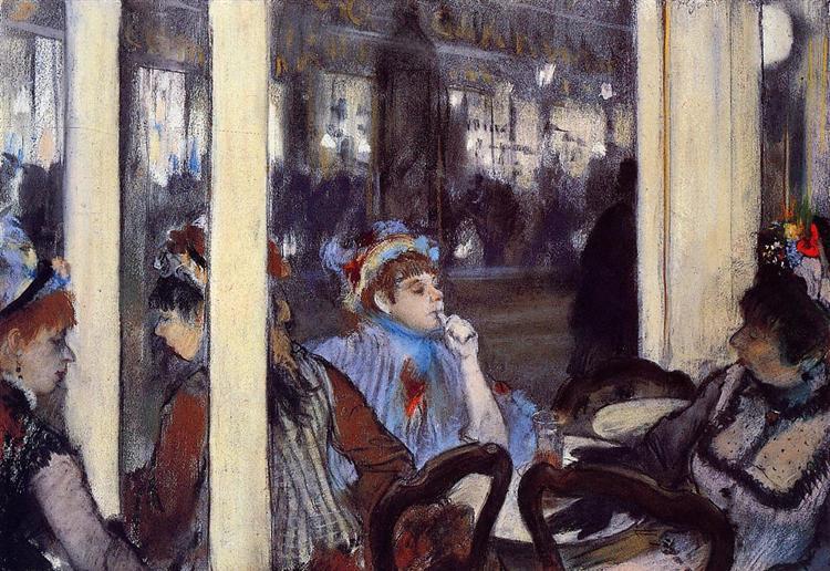 Women on a Cafe Terrace in the Evening, 1877 - Edgar Degas