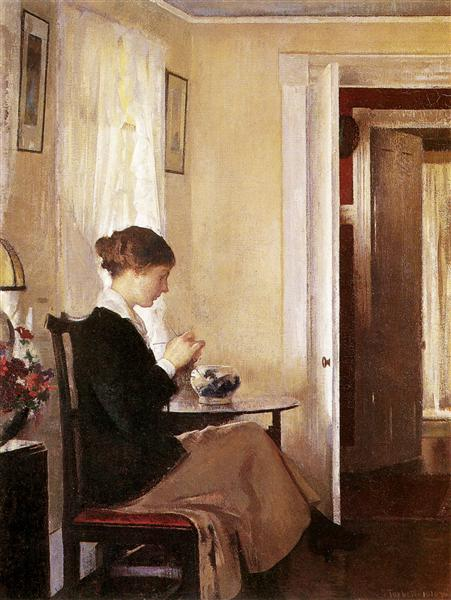 Josephine Knitting, 1916 - Edmund Charles Tarbell