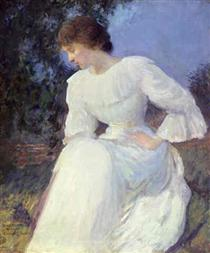 Portrait of a Woman in white - Edmund Charles Tarbell
