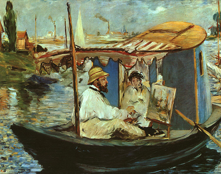 Monet in his Studio Boat, 1874 - Edouard Manet